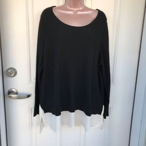 DKNY black sweater with built in white blouse hem